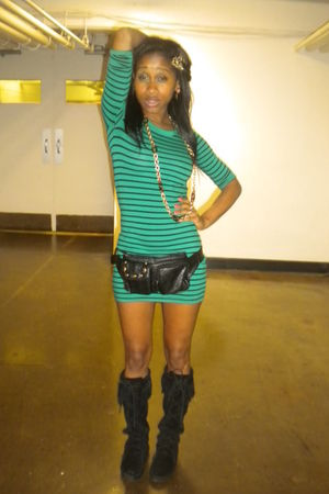 green H&M dress - black Minnetonka boots
