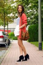 coral wool blend vintage blazer - black chunky heel Oasis boots