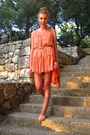 Light-orange-ruffles-h-m-dress-carrot-orange-fringes-primark-bag