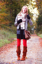 heather gray Vero Moda jacket - tawny fringed H&M boots - black H&M dress
