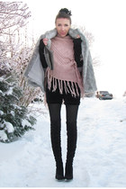 silver vintage coat - pink sweater - black DIY shorts - black boots