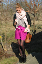 magenta bow front bay secondhand skirt - black Oasis boots - black Orsay jacket