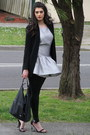 Silver-warehouse-dress-black-h-m-leggings-black-zara-blazer
