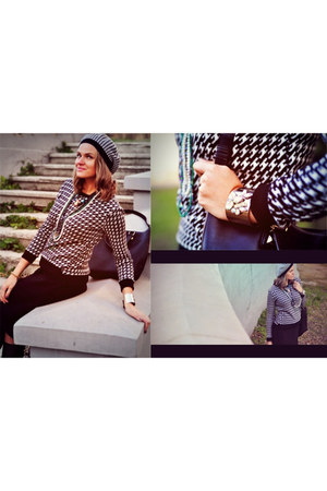 black Stradivarius blazer - black Zara bag - white H&M bracelet