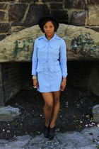 sky blue 80s cotton vintage dress