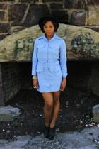 sky blue 80s cotton vintage dress