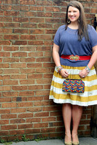 mustard eShakti skirt - blue Loft sweater - red vintage bag