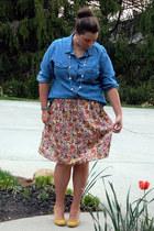 blue Old Navy shirt - francescas skirt - mustard Urban Outfitters heels