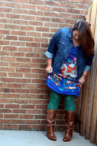 blue Dillards dress - tawny Madden Girl boots - blue Old Navy jacket
