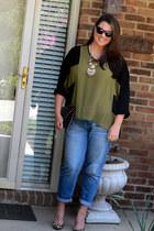 black Vera Bradley glasses - blue Loft jeans - dark brown Marley Lilly purse