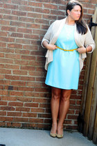aquamarine vintage dress - light yellow Target belt - camel Forever 21 heels