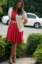ruby red cynthia rowley dress - Target belt - bronze Nine West heels