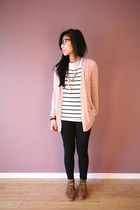 brown Steve Madden boots - light pink J Crew cardigan