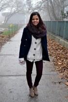 navy Primark coat - crimson new look jeans - cream Primark sweater