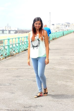 Forever21 top - top - River Island leggings - CCC sandals