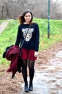 Black-oasap-sweater-black-primark-bag-crimson-river-island-skirt