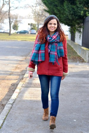 teal Terranova scarf - dark brown CCC boots - brick red coat