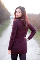 maroon H&M sweater - black Primark tights