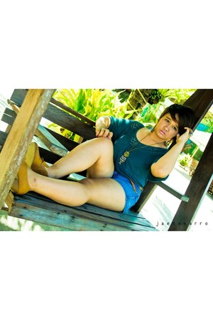 turquoise blue denim shorts shorts - teal cotton top