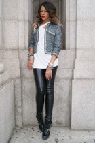 charcoal gray tweed Sugarlips jacket - black combat boots Steve Madden boots