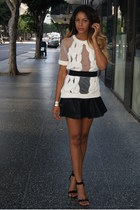 off white cut out Topshop sweater - black faux leather free people skirt
