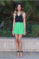 black cropped Sugarlips top - green skater Motel Rocks skirt