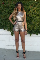gold sequin Clothes Envy romper - black strappy Clothes Envy sandals