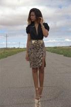 tan python print Altuzarra for target skirt - black deep v Bebe bodysuit
