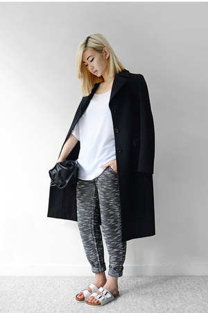 white sandals - black zeroUV sunglasses - gray knit pants
