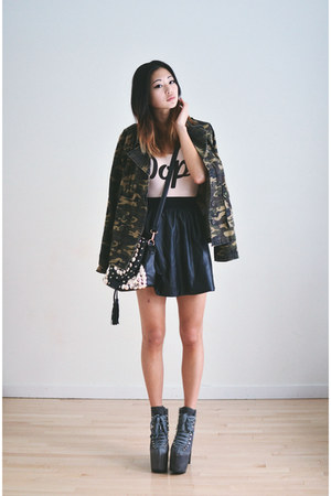 faux leather GoodNight Macaroon skirt - camo Chicwish jacket - romwe bag