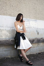 White-dra-skirt-black-jeffrey-campbell-sandals-gold-maria-black-accessories
