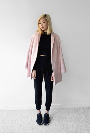 pink Topshop jacket - black nike shoes - black 2020AVE top - black 2020AVE pants