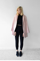 pink Topshop jacket - black nike shoes - black 2020AVE top - black 2020AVE pants