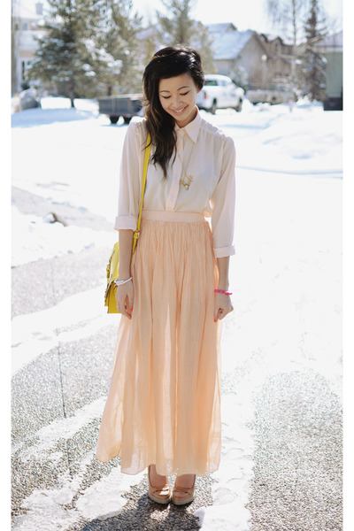 peach silk maxi Love skirt - GoodNight Macaroon blouse