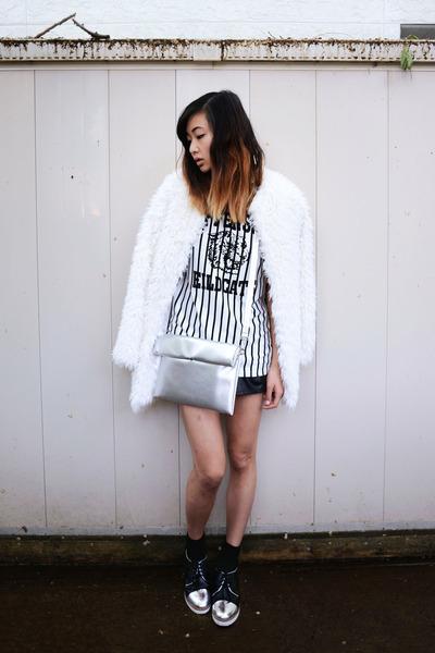 white faux fur Chicwish jacket - white le bunny bleu shoes - silver Choies bag