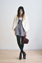 ivory furry Sugarlips jacket - maroon beginning boutique hat