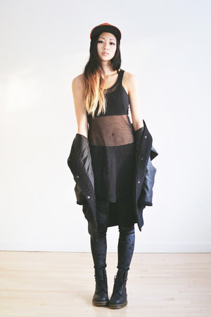 black velvet romwe leggings - black netted Shoppalu vest