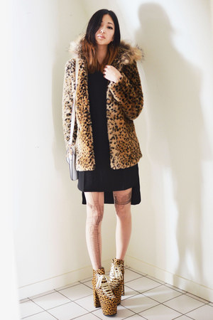 mustard leopard-print Sheinside coat - black Sheinside dress