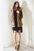 mustard leopard-print Sheinside coat - black Sheinside dress
