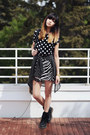 Black-polka-dot-beginning-boutique-dress-black-chicwish-bag