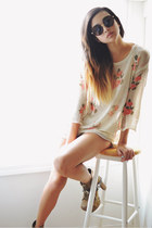 floral Sheinside sweater - OAK  FORT shorts - the quiet riot sunglasses