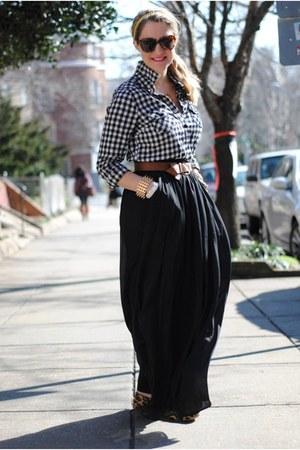white Forever 21 blouse - brown Zara bag - black H&M skirt