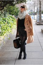 black leather H&M shorts - silver fur snood ann taylor scarf