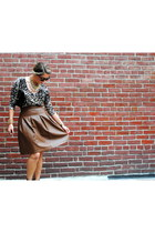 black clutch vintage purse - leopard blouse - wedges - pleather a-line skirt