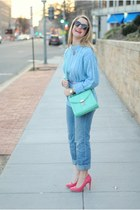 bubble gum asos pumps - sky blue Old Navy jeans - light blue vintage sweater