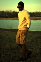 black shoes - light yellow abercrombie and fitch sweater - white H&M shirt - mus