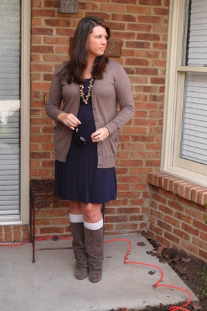Fashion Bug dress - Ann Taylor Loft cardigan - naughty monkey boots - Forever 21