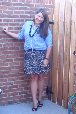 Ann Taylor Loft shirt - Forever 21 skirt - Payless heels - World Market necklace