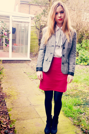 H&amp;M skirt - next boots - Urban Outfitters blazer - random brand shirt