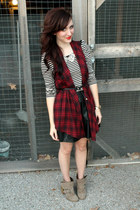 leather Forever 21 skirt - ankle Shoe Dazzle boots - plaid StyleMint vest